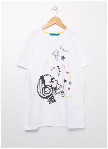 Funky Rocks Funky Rocks Erkek Çocuk Beyaz Bisiklet Yaka T-Shirt Beyaz